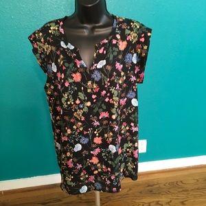 Pleione blouse cap sleeve floral print size L